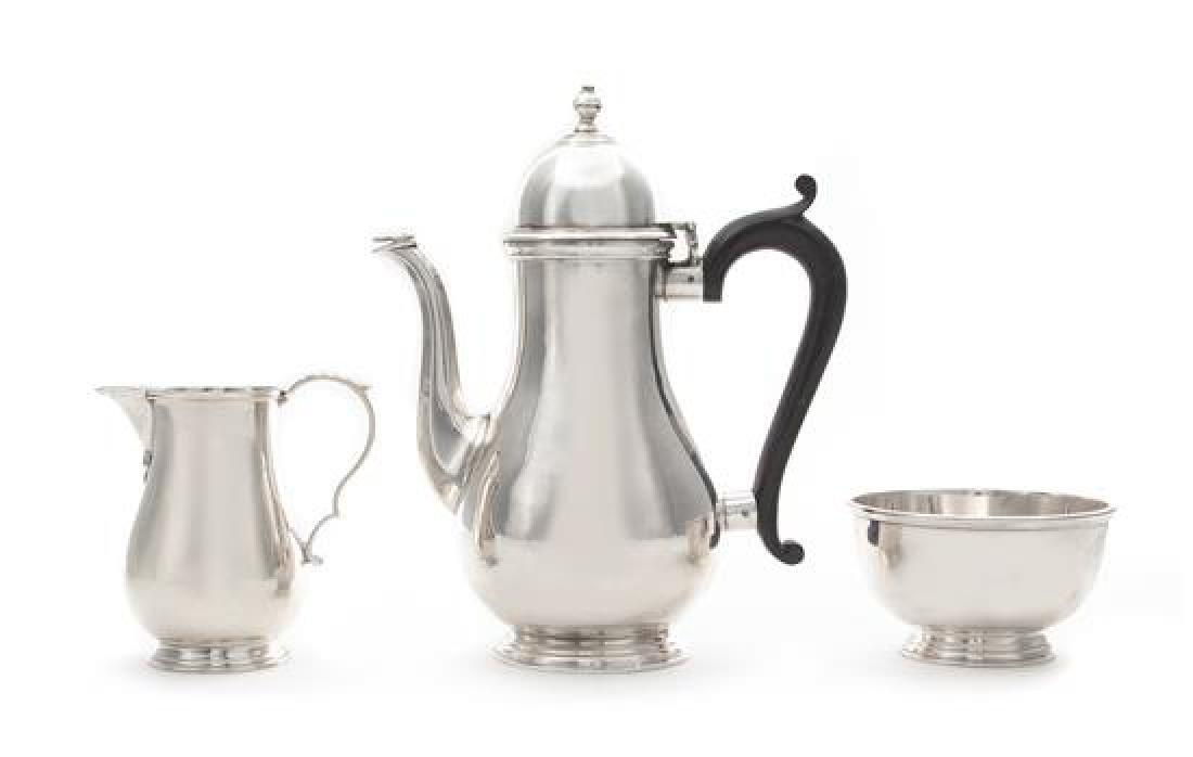 * An English Silver Three-Piece Bachelor's Coffee