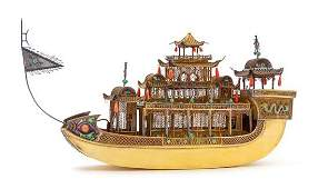 A Chinese Export Silver-Gilt and Enameled Model of a
