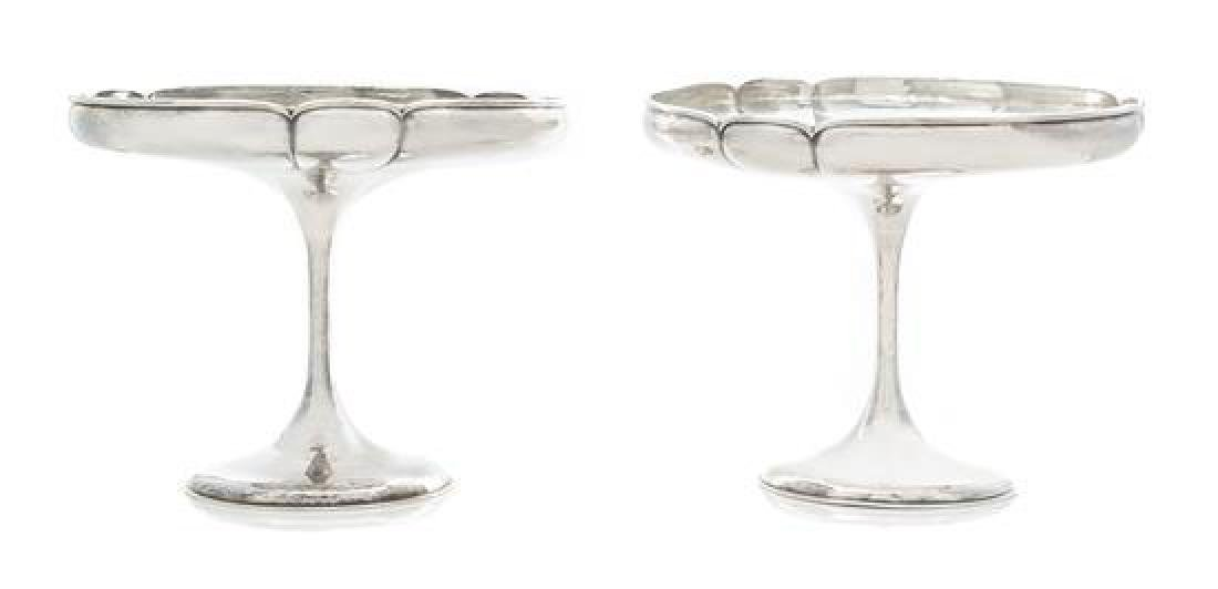 * A Pair of American Arts and Crafts Silver Compotes,