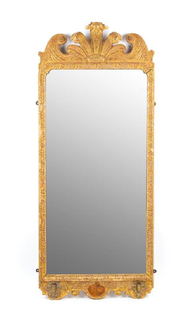A George II Giltwood Girandole Mirror Height 46 x width