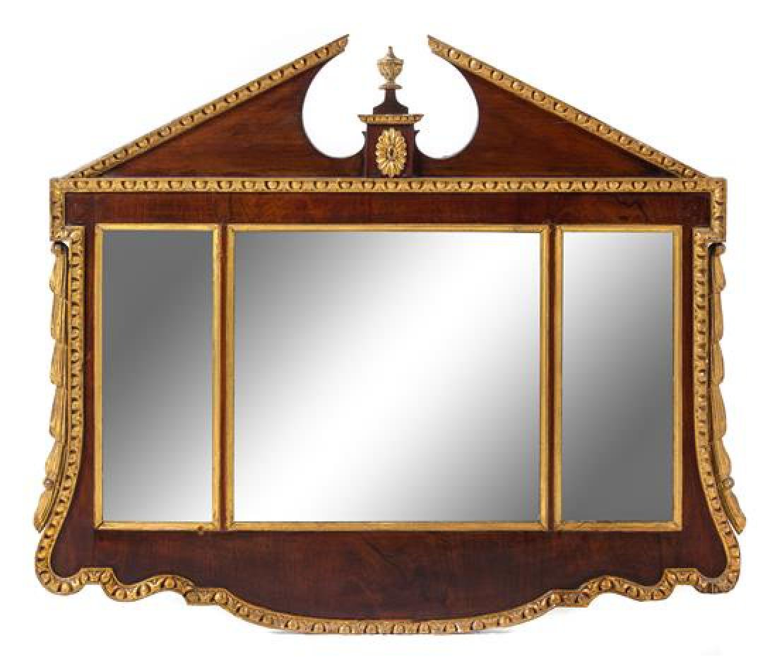 A George II Style Parcel Gilt Mahogany Mirror Height 43