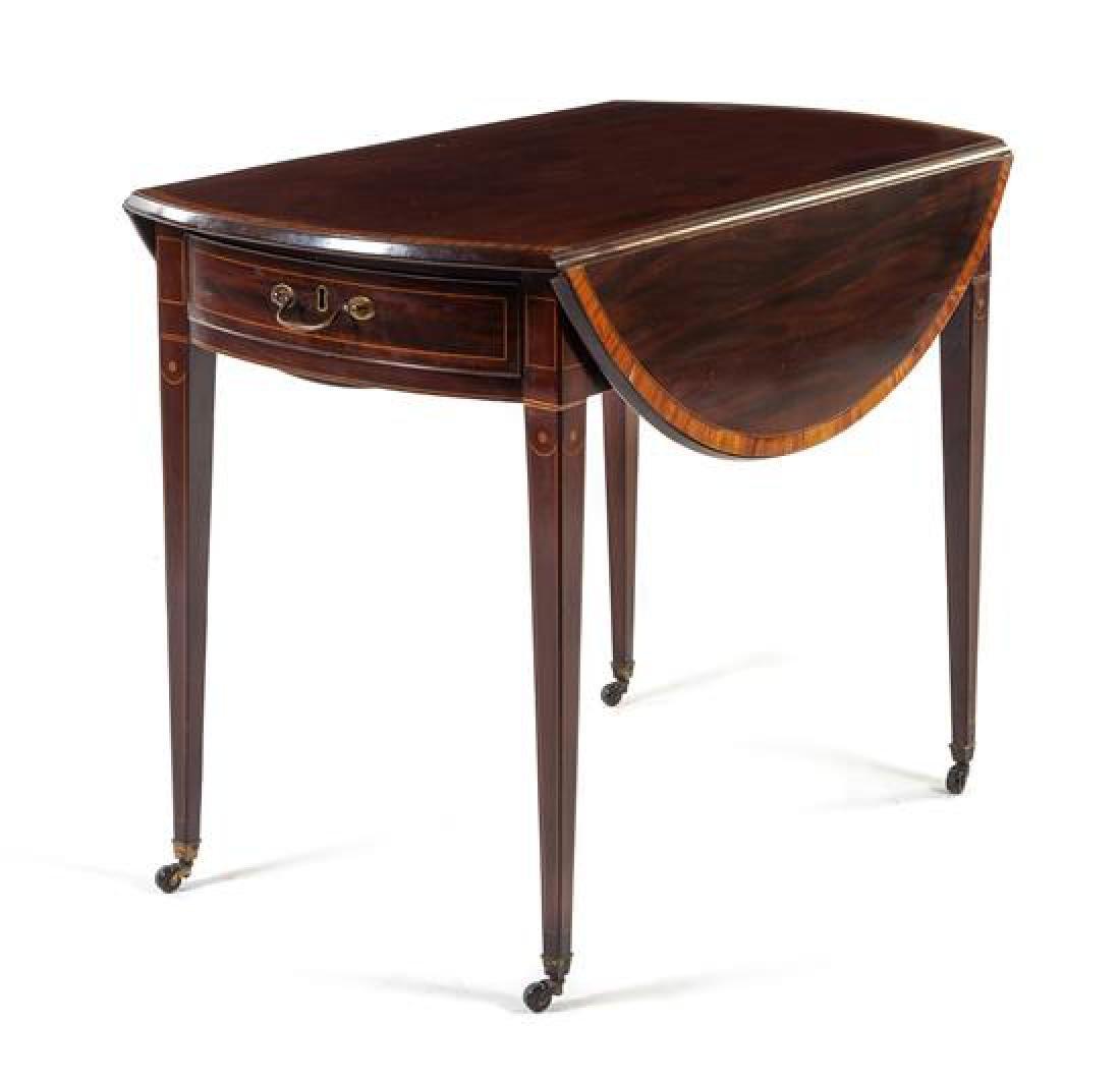 A George III Inlaid Mahogany Pembroke Table Height 28 x