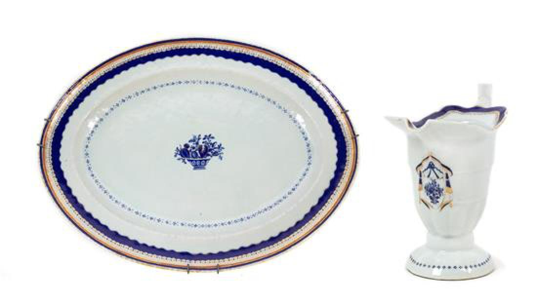 A Chinese Export Porcelain Platter and Creamer Width of