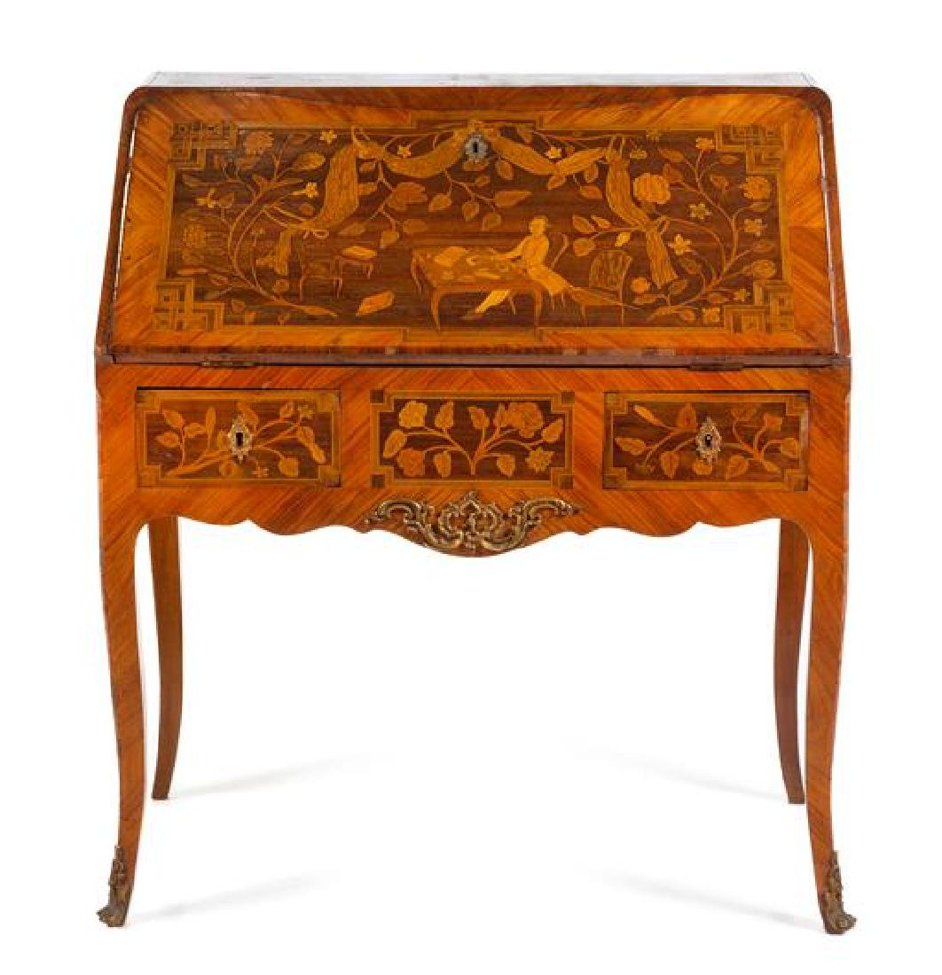 A Louis XV Style Marquetry Bureau en Pente Height 38