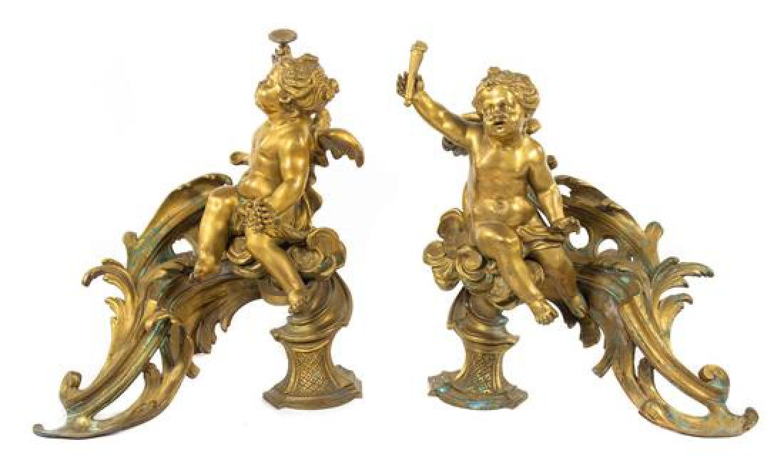 A Pair of Louis XV Style Gilt Bronze Chenets Height 14