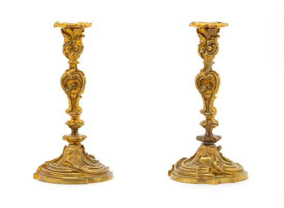 * A Pair of Louis XV Style Gilt Bronze Candlesticks