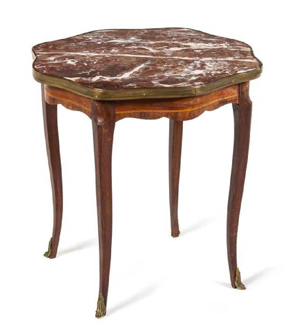 * A Louis XV Style Marquetry Table Height 20 x width 19