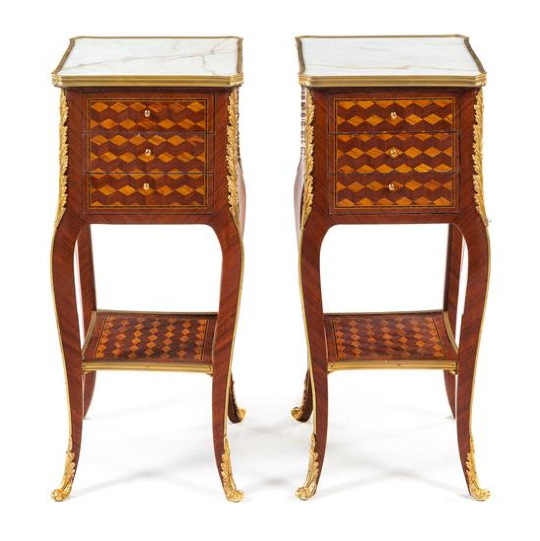 A Pair of Louis XV Style Gilt Bronze Mounted Parquetry