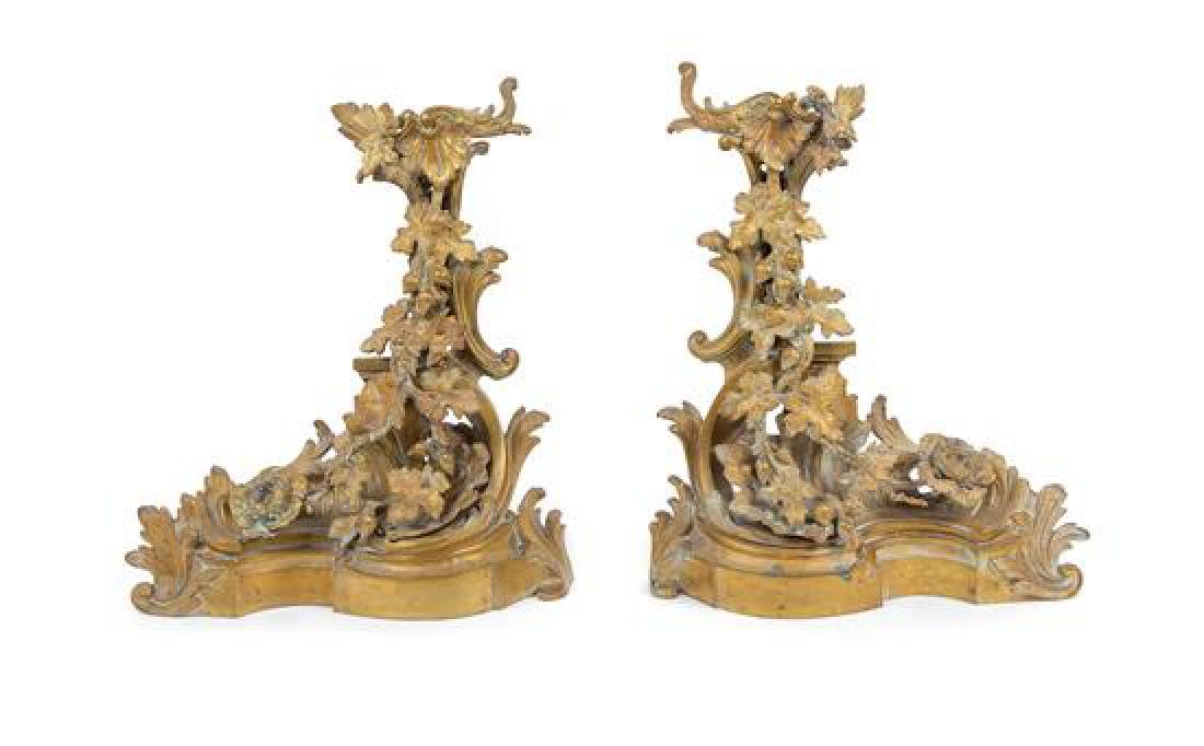 A Pair of Louis XV Style Gilt Metal Chenets Height 20