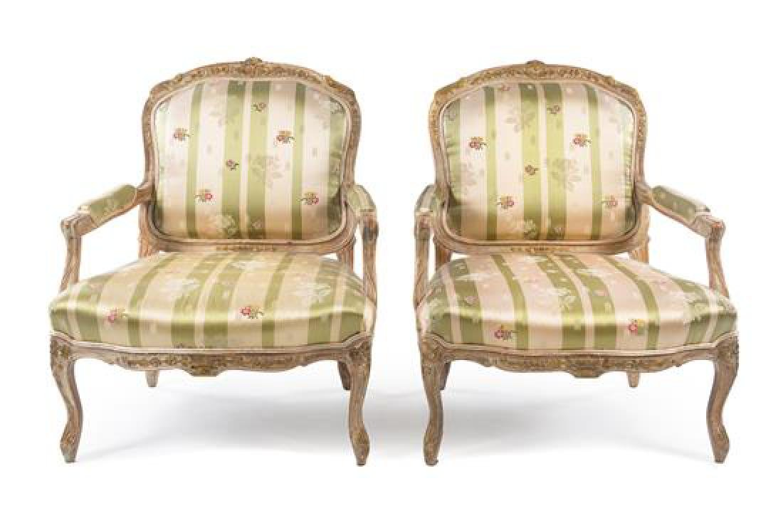 A Pair of Louis XV Style Painted Fauteuils Height 42