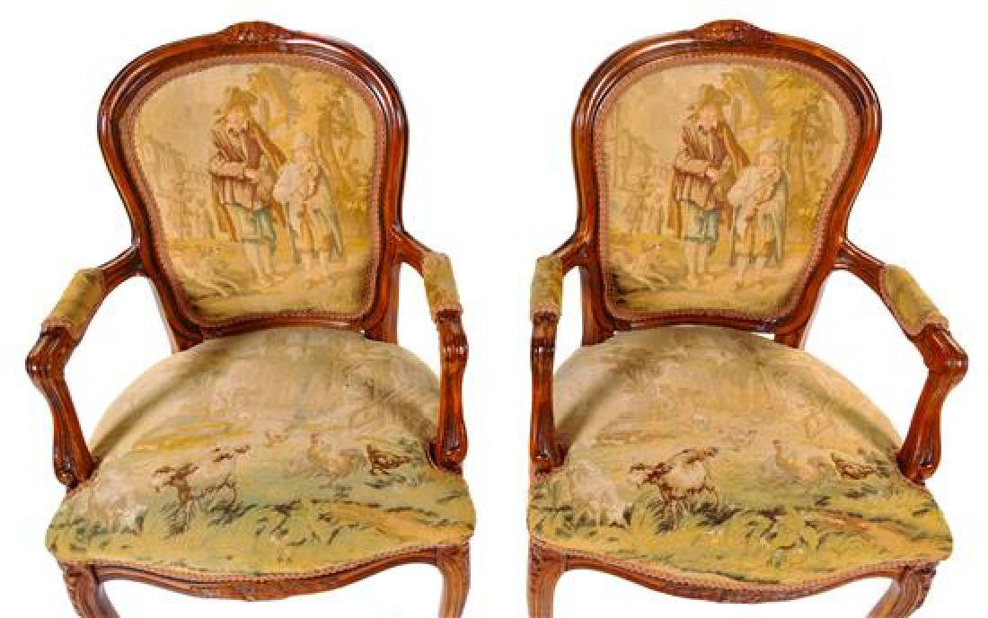 A Pair of Louis XV Fruitwood Fauteuils Height 37 - 2