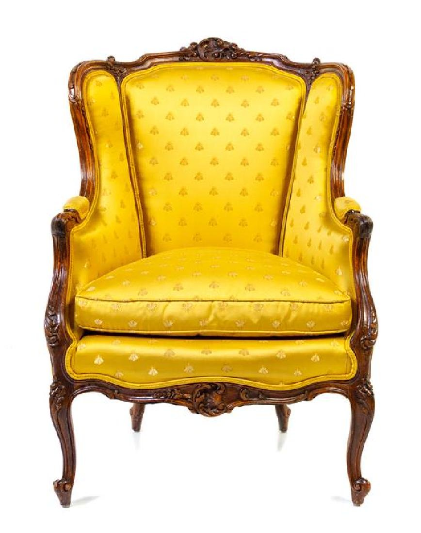 A Louis XV Style Bergere Height 42 x width 29 1/2 x