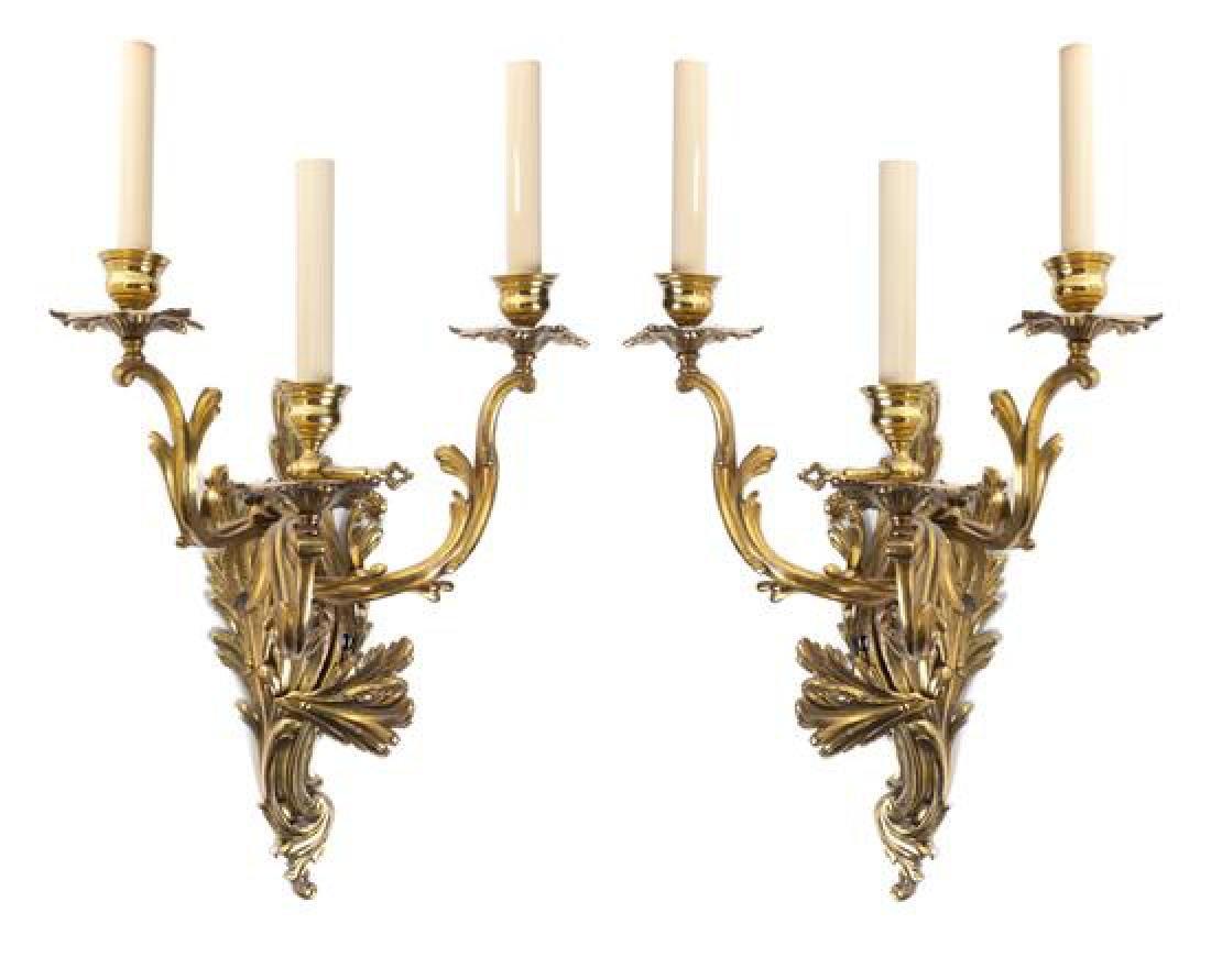 A Pair of Louis XV Style Gilt Bronze Three-Light