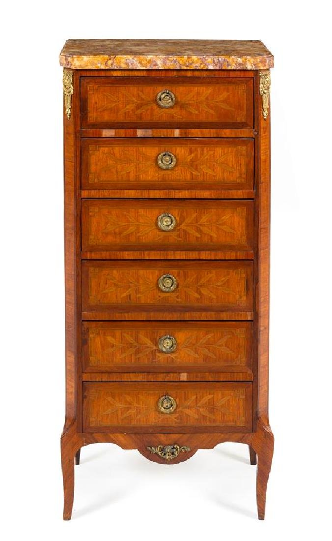 * A Transitional Style Marquetry Semainier Height 46