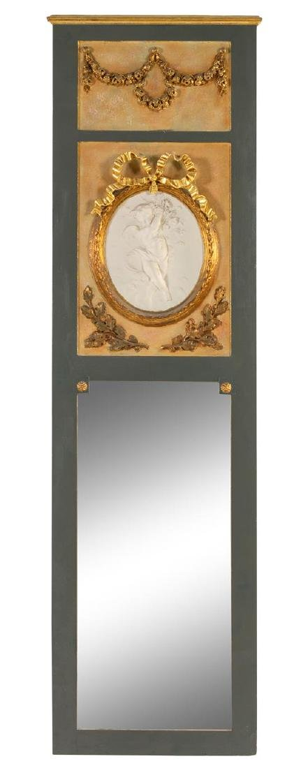 * A Louis XVI Style Painted Mirror Height 81 x width 23