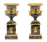 A Pair of Empire Style Gilt Metal Mounted Urns Height