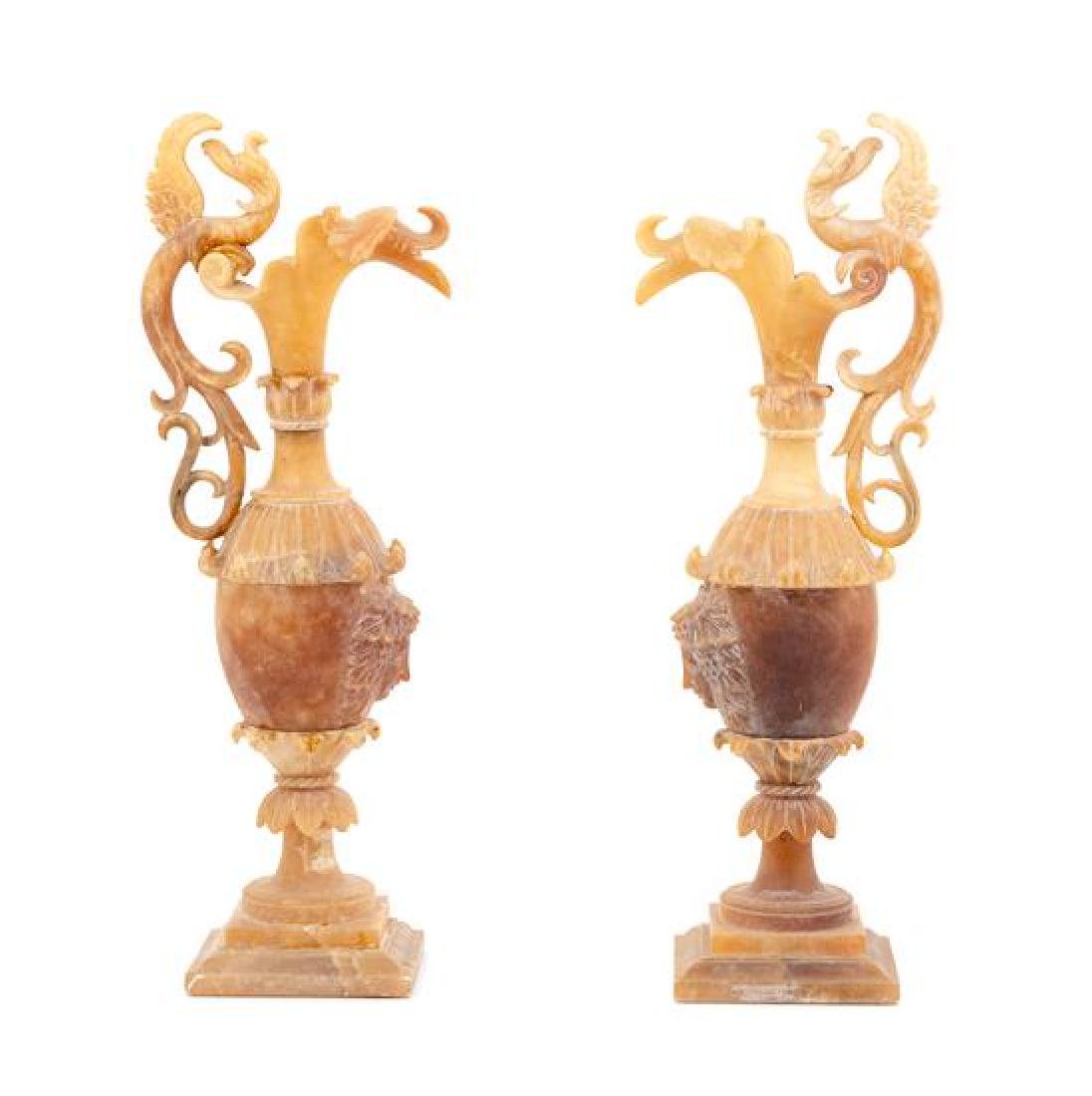A Pair of Italian Carved Alabaster Ewers Height 22