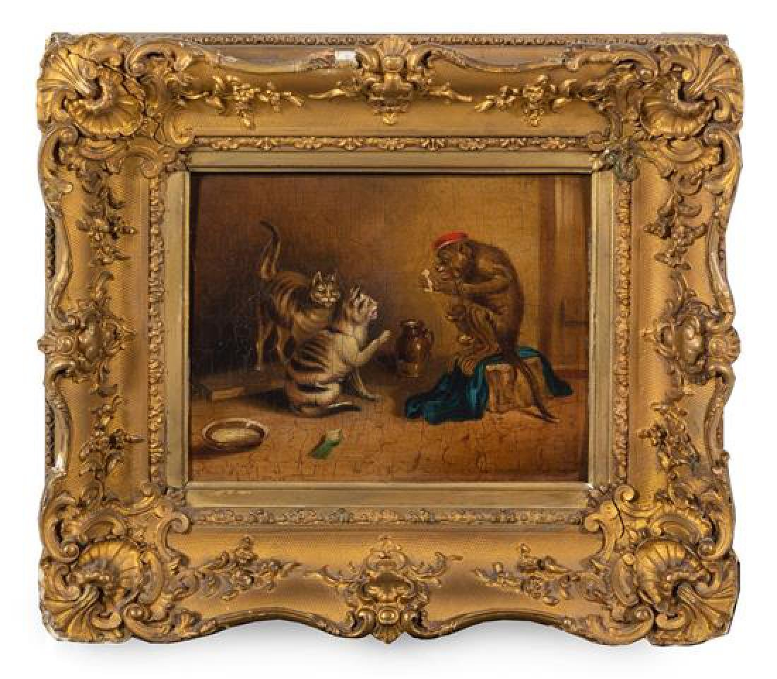 Continental School, (18th/19th Century), Monkey and Two
