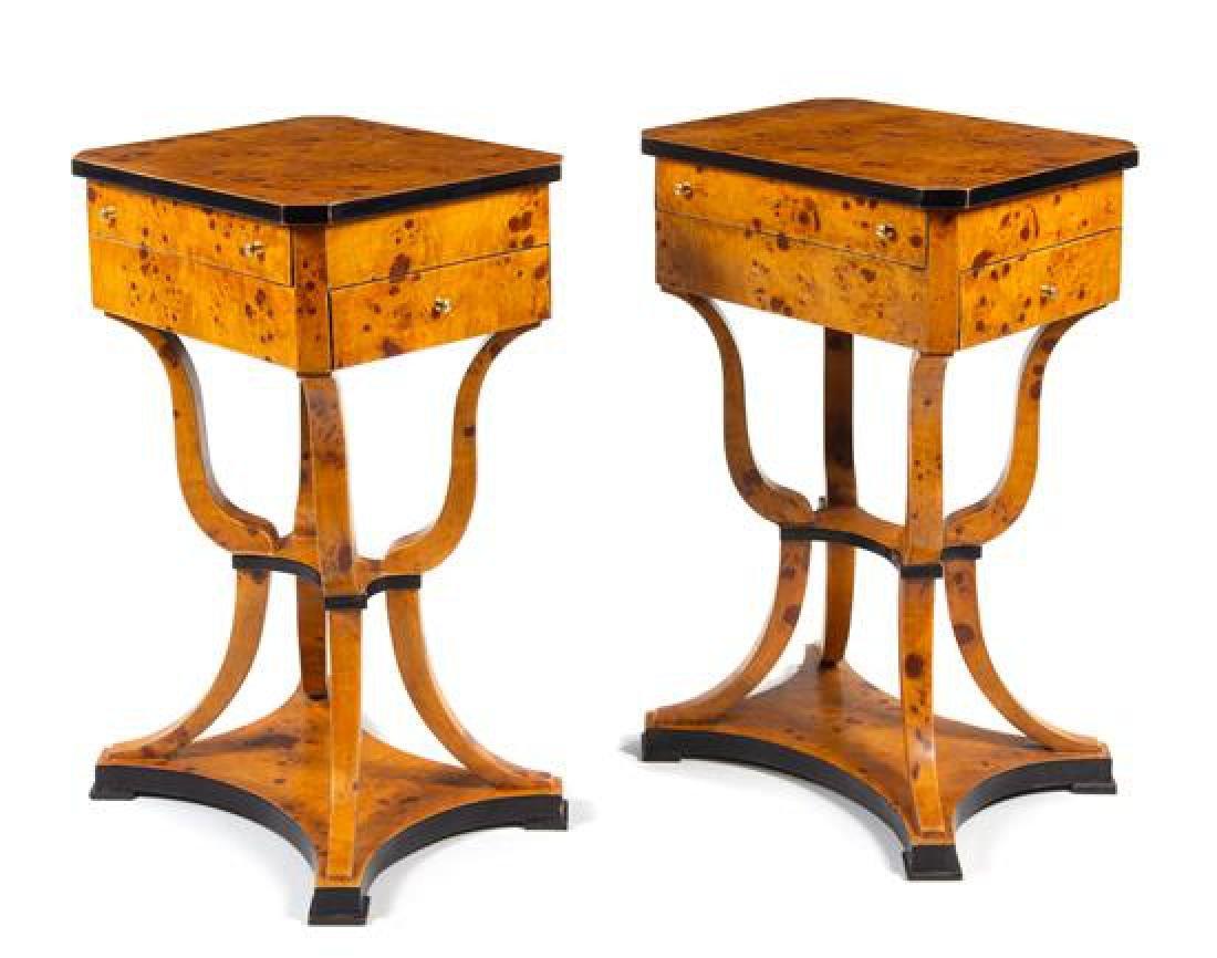 A Pair of Biedermeier Style Parcel Ebonized Work Tables