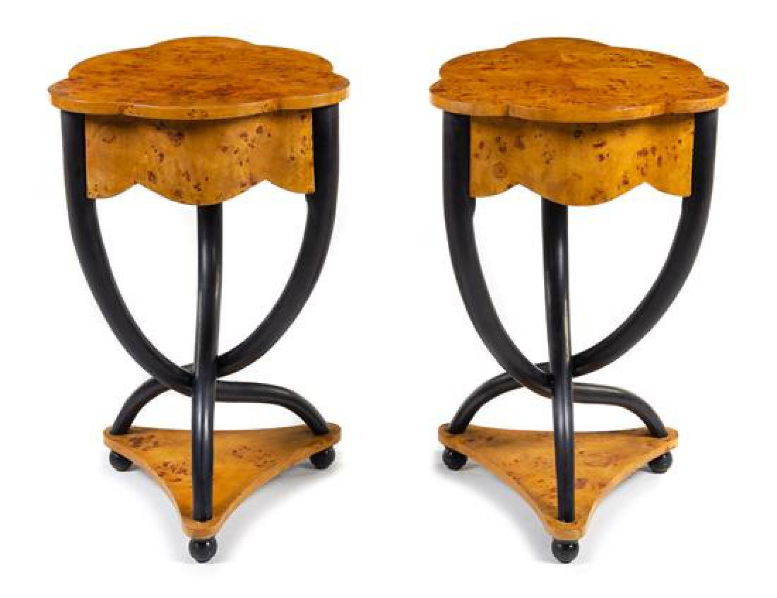 A Pair of Biedermeier Style Side Tables Height 28 1/2