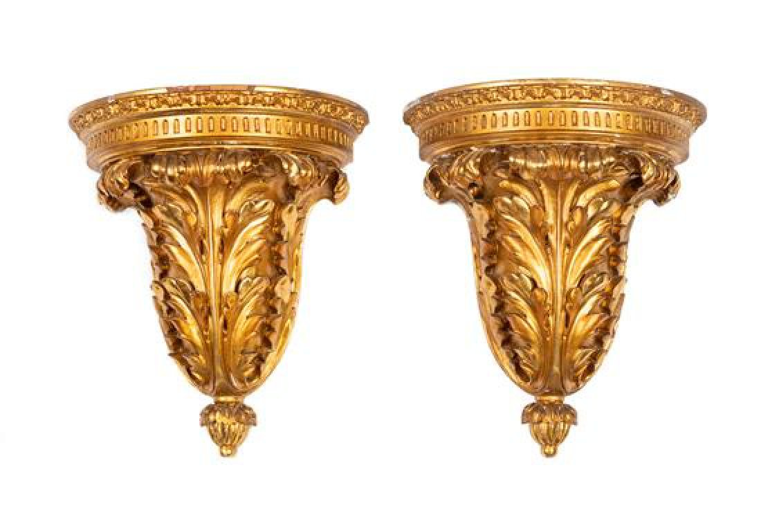 A Pair of Continental Giltwood Wall Brackets Height 12