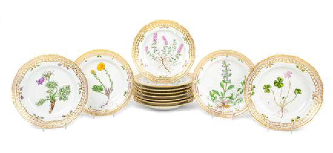 A Set of Twelve Royal Copenhagen Flora Danica Porcelain