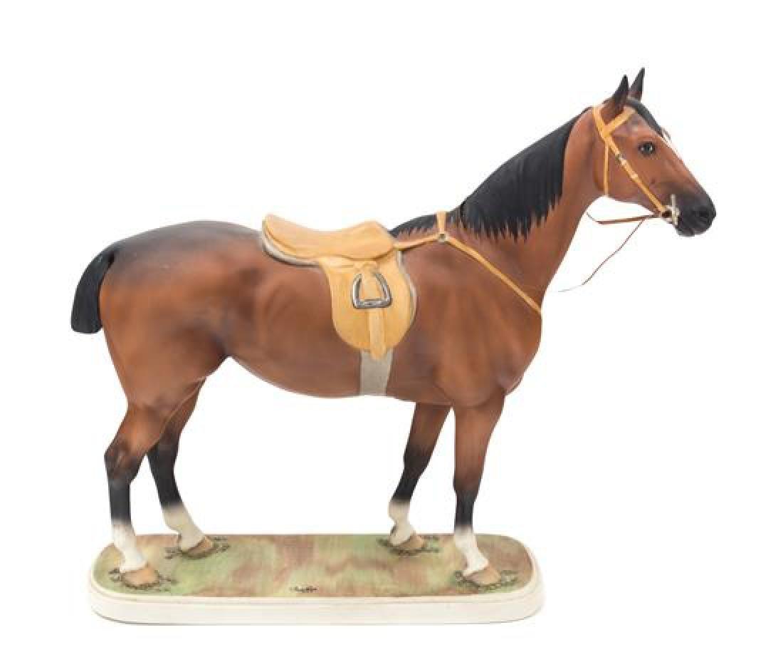 A Boehm Porcelain Figure of a Horse Height 14 1/2