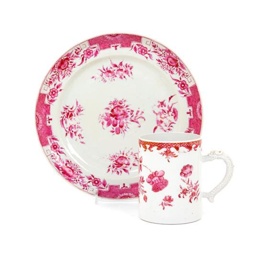 A Chinese Export Porcelain Mug and Plate Diameter of