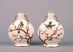 A Pair of English Porcelain Handled Vases, Height 9