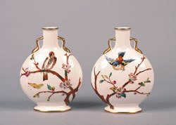 4: A Pair of English Porcelain Handled Vases, Height 9