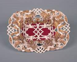 A Meissen Parcel Gilt Reticulated Dish, Height 3 x w