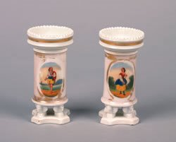 10: A Pair of Paris Porcelain Footed Vases, Height 5 1/