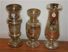197 A Group of Three Mercury Glass Vases Height of ta