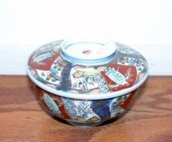 400: A Japanese Imari Porcelain Covered Bowl, Diameter