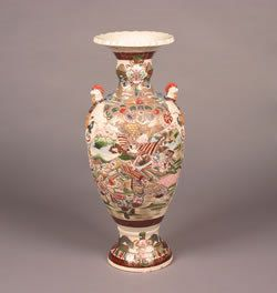 A Large Japanese Earthenware Baluster Vase, Height