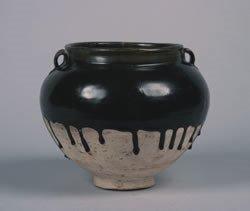 407: A Chinese Black Glazed Ceramic Jar, Height 9 1/2 i