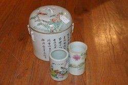 A Chinese Famille Rose Porcelain Covered Cannister
