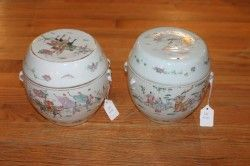 A Pair of Chinese Famille Rose Porcelain Covered J