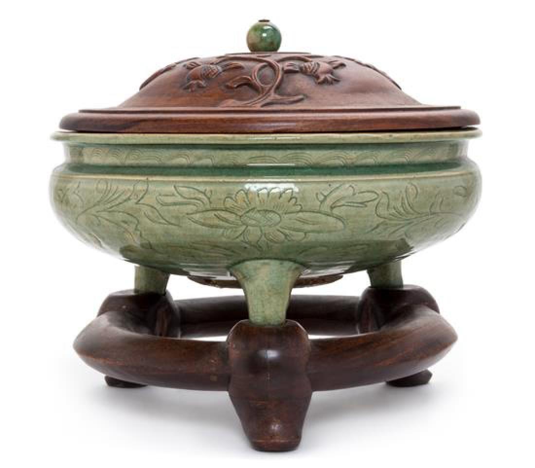 A Large Longquan Celadon Porcelain Tripod Censer