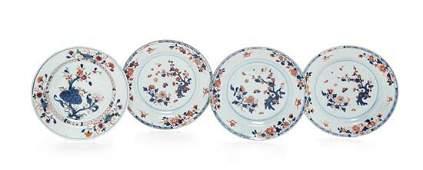 * Four Chinese Export Porcelain 'Imari' Pattern Plates