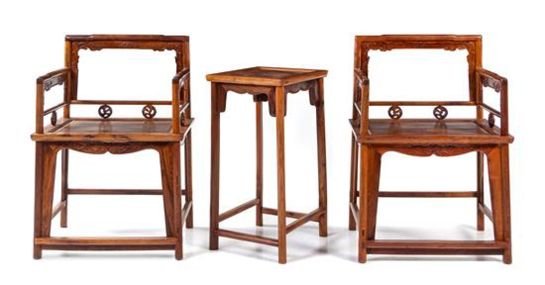 A Pair of Hardwood Low-Back Armchairs, Meiguiyi,and a
