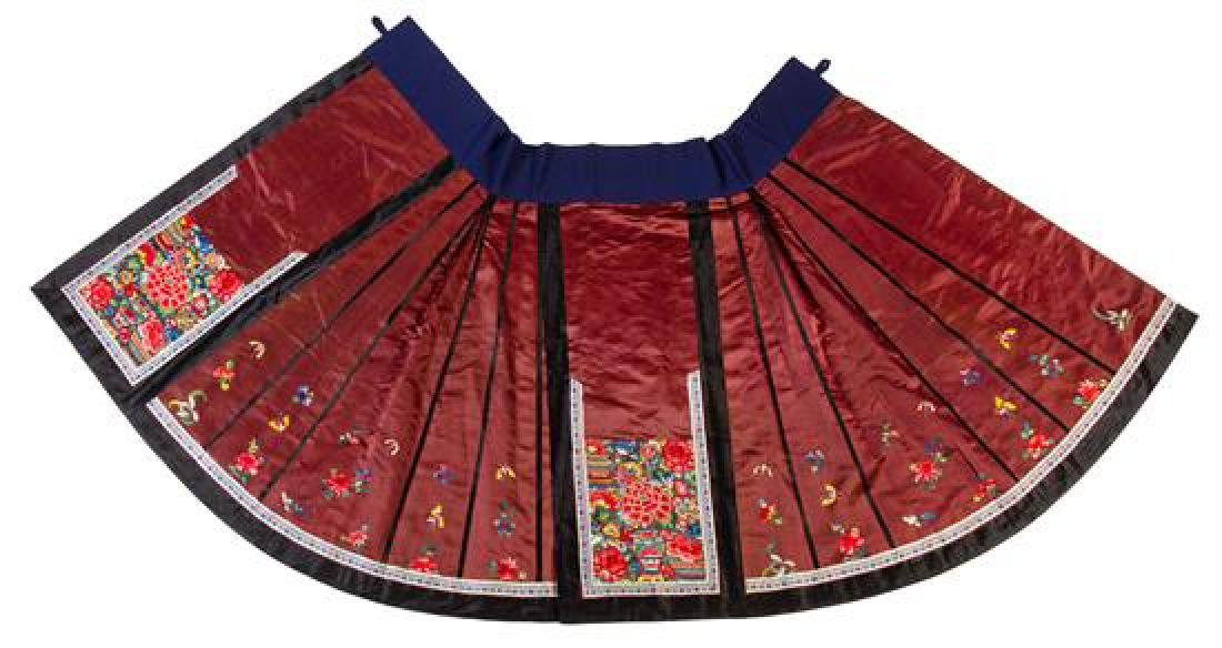 A Brown Ground Embroidered Silk Apron Skirt Length 37