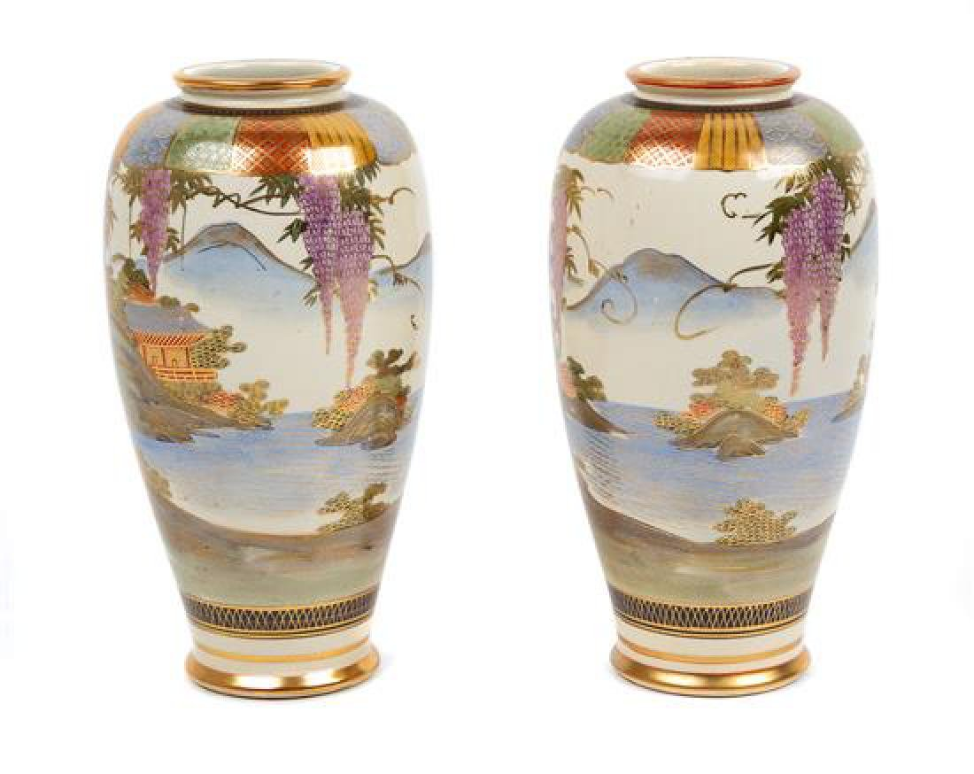 * A Pair of Japanese Satsuma Vases Height of each 9 3/4 - 2