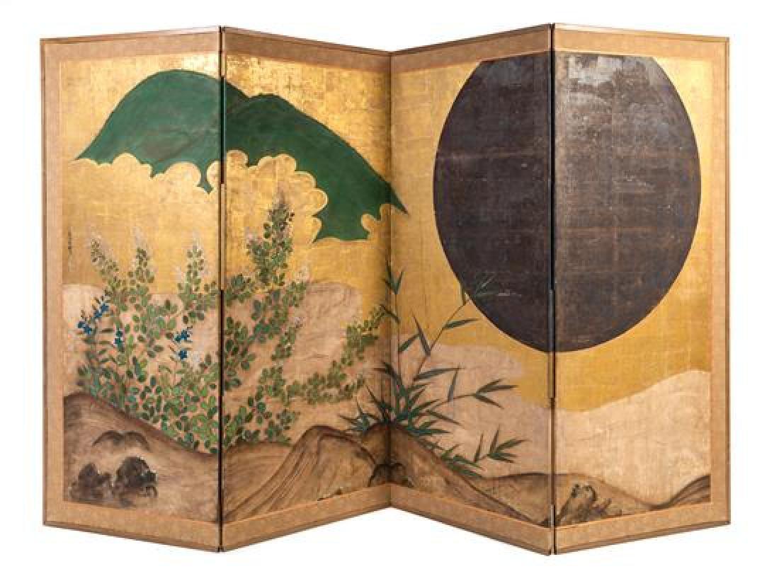*Tojo Unkoku, (Japanese, 1641-1722), a four-panel floor