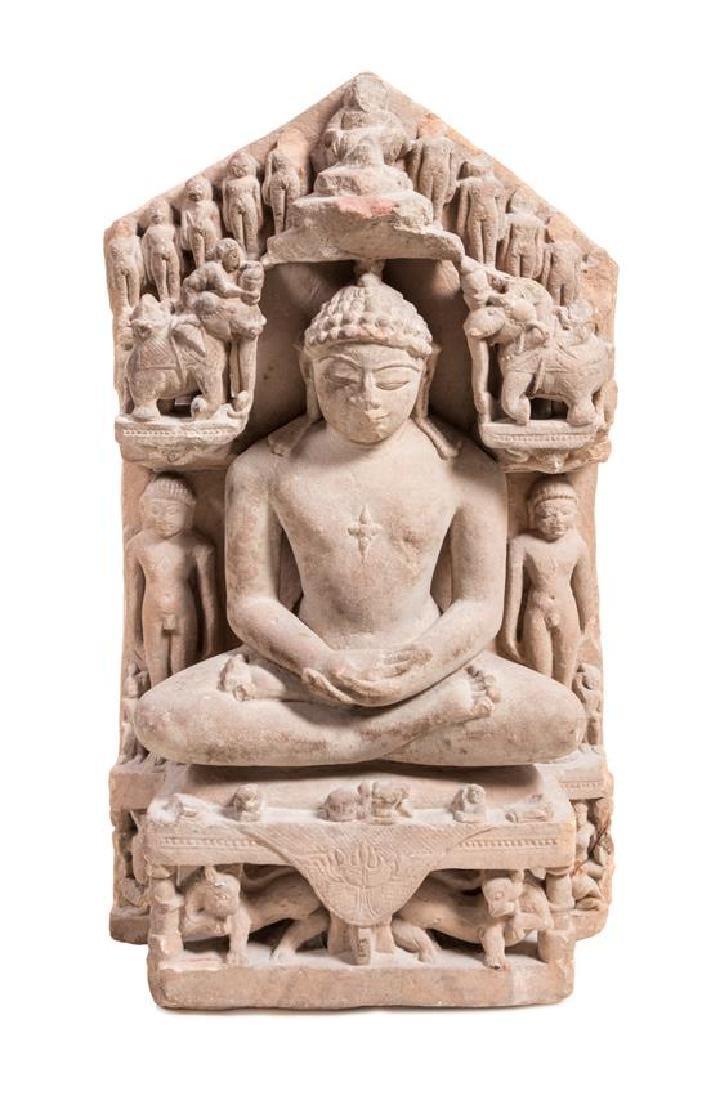 * A Jain Sandstone Figure of Seated Buddha Height 23 x