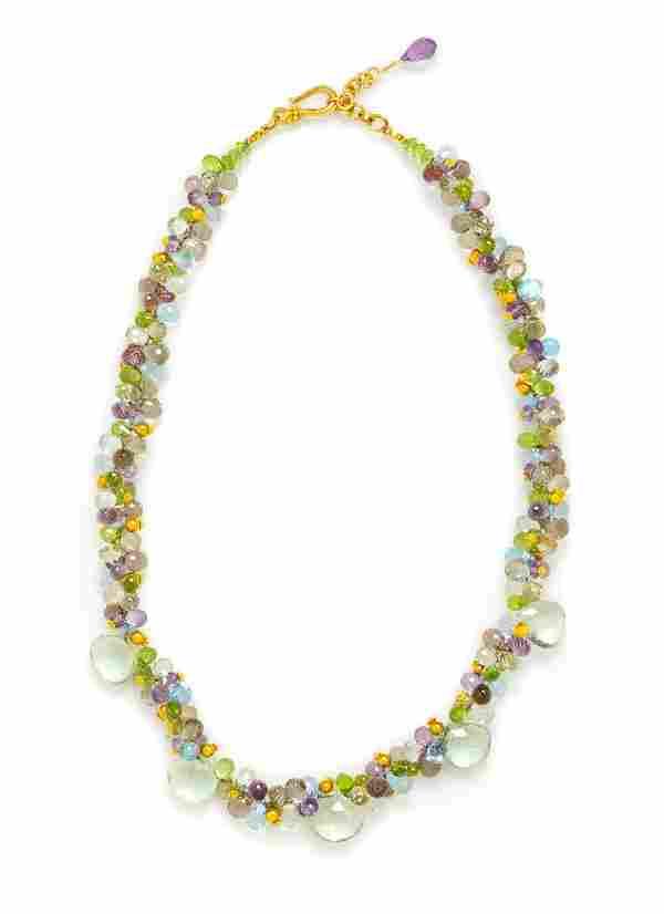 An 18 Karat Yellow Gold and Multigem Bead Necklace,