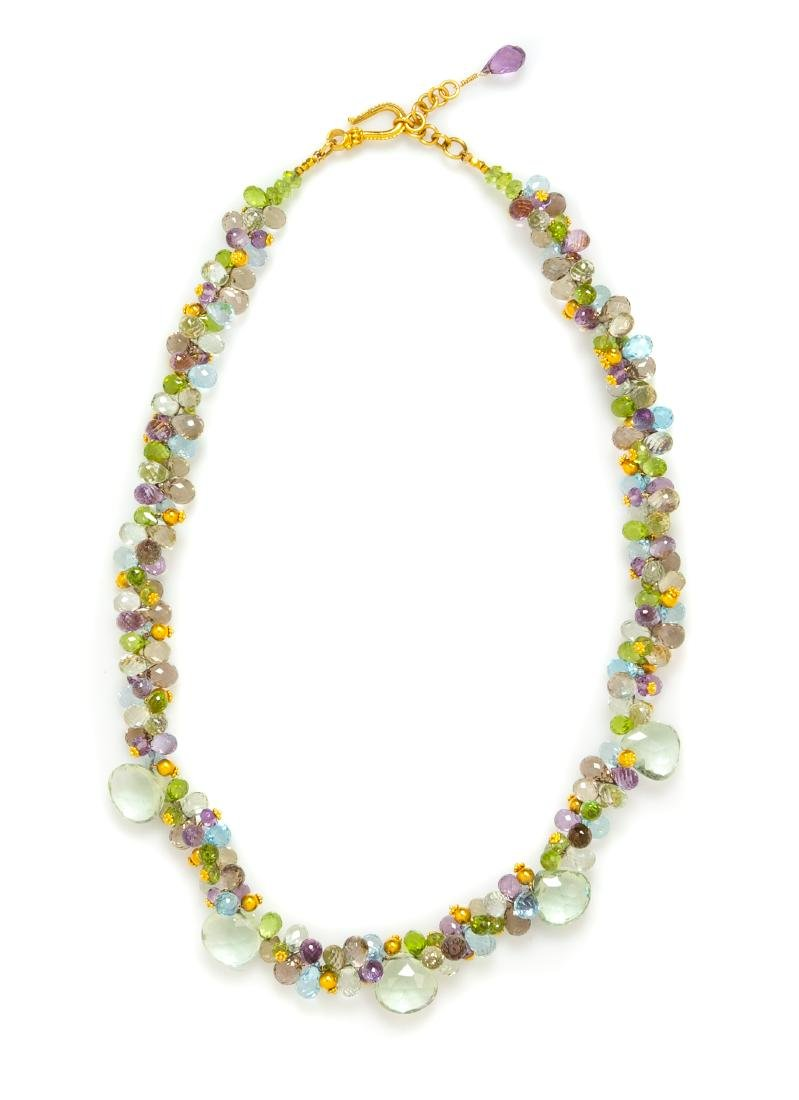 An 18 Karat Yellow Gold and Multigem Bead Necklace,