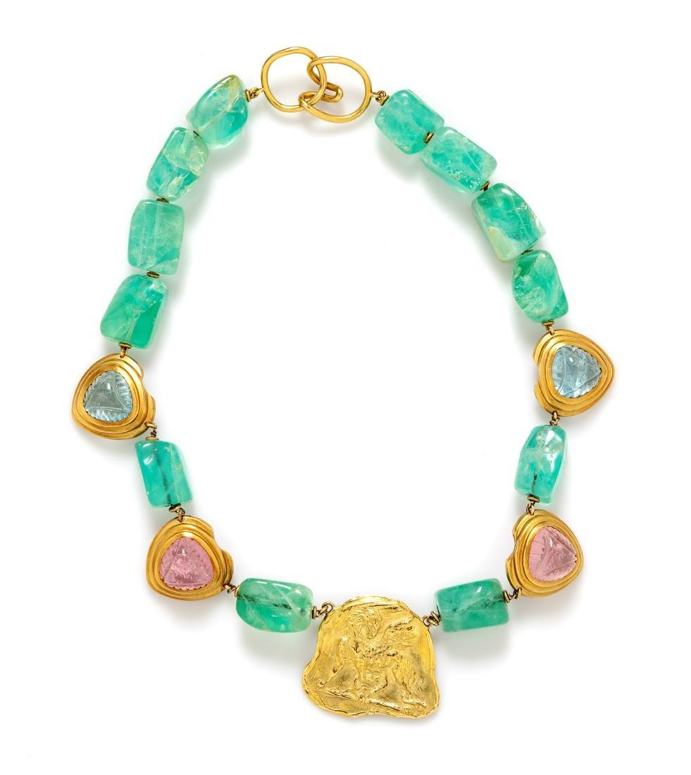 * An 18 Karat Yellow Gold and Multigem Necklace, 114.25