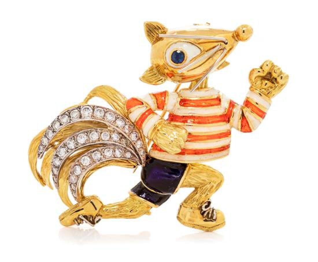An 18 Karat Yellow Gold, Diamond, Sapphire and