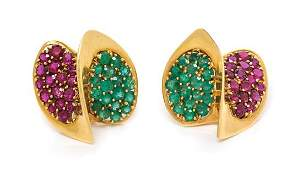 A Pair of 18 Karat Yellow Gold, Ruby and Emerald